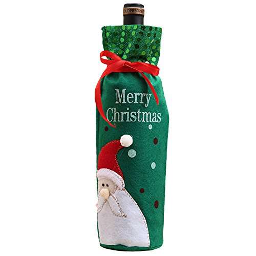 Aprettysunny Christmas Wine Bottle Bag Xmas Santa Sequin Champagne Drink Cover Gifts