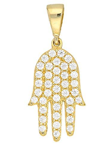 MyGold Fatima-Anhänger (ohne Kette) Gelbgold 333 Gold (8 Karat) mit Steinen 39 Zirkonia 10mm x 22mm Hamsa Amulett Goldanhänger Halskette Goldkette Damenkette Hand Rowena V0013817
