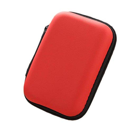 Ipod Nano In-ear-headset (Dosige Kopfhörer Tasche Earphone Case Aufbewahrungstasche für Headset/In Ear Ohrhörer/ MP3 Player/iPod/Nano/Schlüssel Rot)