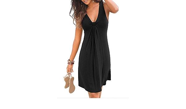 L//P Femmes Débardeur Sans Manche Boutons plage robe V Neck vacances d/'été Casual midikleider