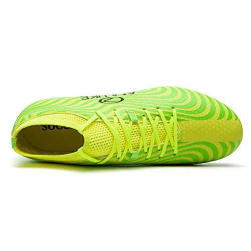 Dexuntong Herren Fußballschuhe Beruf Athletics High Top kickschuhe Spike Cleats (Fußballschuhe mit Socken) Grün