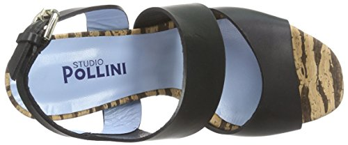 Pollini San.lod.bl Sk6/120 Vac.ner/su.st.na, Sandales  Bout ouvert femme Marron - Braun (Brown 00A)