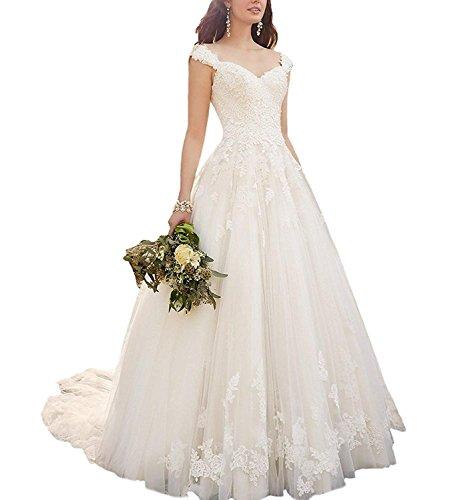 Topkleider Damen Gorgeous Spitze Neu Herzform Hochzeitskleider Lang Brautkleider -50-Elfenbein