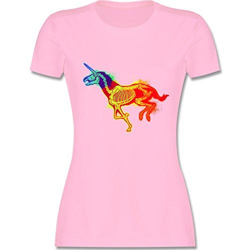 Comic Shirts - Einhorn Skelett - tailliertes Premium T-Shirt mit Rundhalsausschnitt für Damen Rosa
