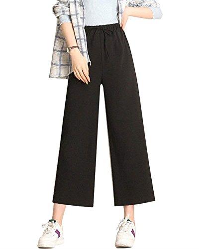 Wide Leg Pants Damen Frühling Herbst 7/8 Hose Elegante Mode Vintage High Waist Hose Classic Kleidung Unifarben Elastische Taille Freizeithose Pants Pants Kleidung (Color : Schwarz, Size : M) (Women's Classic Beauty Kostüm)