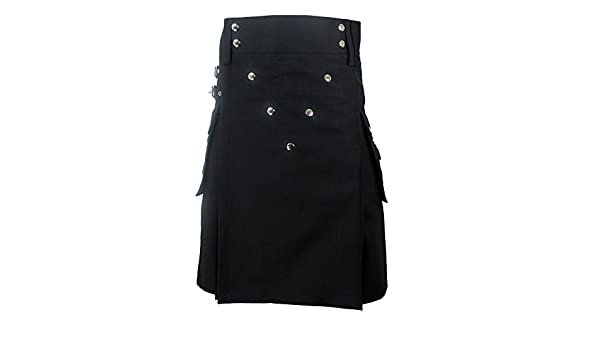 Kilt avec Rivets chrom/és et Poches Noir Homme Tartanista Coton r/ésistant