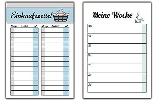 Einkaufszettel + Wochenplaner im Set zur Organisation der Woche Planung Menü Essen für Einkaufsliste als Block Notizblock für zu Hause für die HandtascheHaushalt Küche Einkaufsblock Einkaufsliste - Essen Block