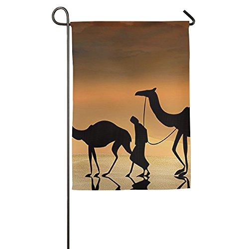 TTIWEP Romantique Camel et Coucher de Soleil Jardin Drapeau Drapeaux de décoration intérieure et extérieure pour Parade Sports Jeu Family Party Banderole Murale, 18 * 27inch Blanc