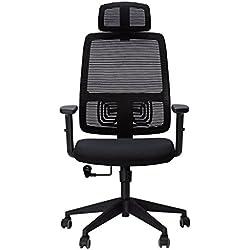 SLYPNOS Chaise de Bureau, Fauteuil de Bureau, Pivotant 360°, Hauteur et Accoudoirs Réglable, SGS Certifié Nylon, Garantie 3 Ans - 【Noir】