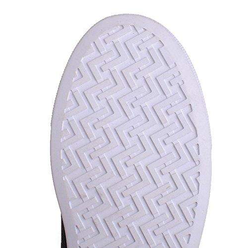 VogueZone009 Femme Couleur Unie Pu Cuir à Talon Bas Rond Fermeture D'Orteil Tire Chaussures Légeres Noir