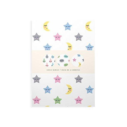 Cuquiland Cielo Kawaii - Pack de tres libretas, 11 x 15 cm, 32 páginas