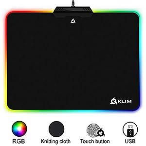 KLIM Mauspad RGB Chroma – Gewebe mit hoher Genauigkeit – Lichteffekte – Verschiedene Modi – Gaming Gamer Videospiele [ Neue 2020 Version ]