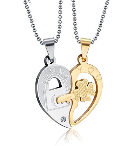 Vnox Llave de acero inoxidable para el rompecabezas del corazón Mujer para hombre colgante de pareja,oro y plata,cadena libre