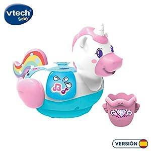 VTech-¡Al Agua Pequeño Unicornio Juguete electrónico para el baño con Voces, Sonidos, Luces y Canciones. (3480-516022)