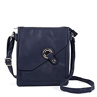 SALLY YOUNG Fashion Women High Quality PU Leather Across Body Bag With Strap (navy)