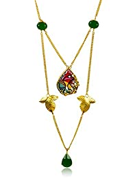 Miranika Gold Plated Multi Strand Necklace for Women (Multi-Colour)(C1D19GSB)