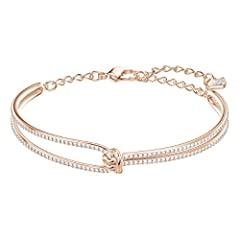 Idea Regalo - Swarovski Bracciale da Donna Rigido Lifelong, Bianco, Placcato Oro Rosa