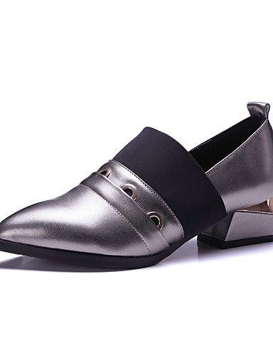 WSS 2016 Chaussures Femme-Extérieure / Bureau & Travail / Habillé / Décontracté-Noir / Argent-Gros Talon-Bout Pointu / Bout Carré / Bout Fermé / silver-us5.5 / eu36 / uk3.5 / cn35