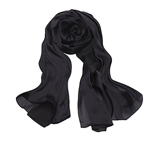 Summer Solid Scarfs Stoles for Women Black Silk Lightweight Shawls