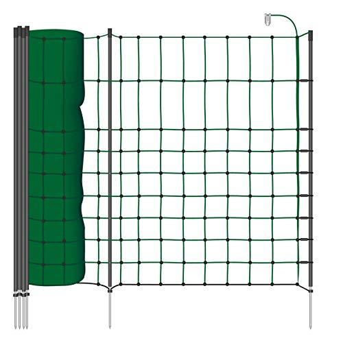 filet de clôture électrique de 50m petits animaux, 65cm, cordon vert, 1 pointe