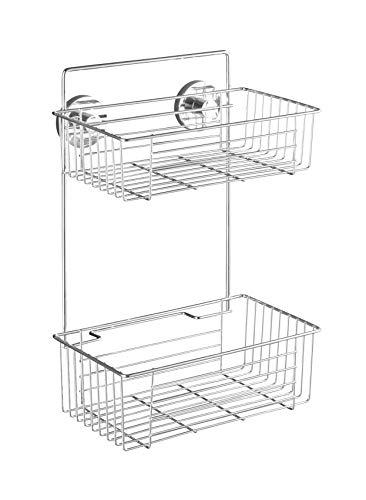 WENKO Vacuum-Loc Wandregal 2 Etagen Bari - Befestigen ohne bohren, Stahl, 26 x 38 x 17 cm, chrom