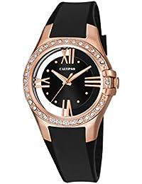 Calypso–Reloj de mujer de cuarzo con Negro esfera analógica pantalla y correa de plástico en color negro K5680/4