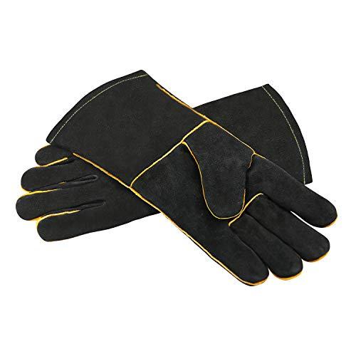 Lederhandschuhe, hochwertig, strapazierfähig, hitzebeständig, zum Schweißen von Kamin, Ofen, Holzofen, Herden, Grill
