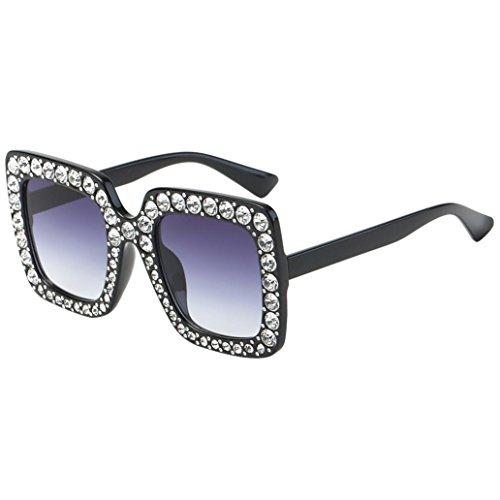 Covermason Classic Frauen Sonnenbrillen Groß Platz Strass Sunglasses Brillen (D)