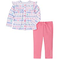 Calvin Klein Baby Girls' 2 Pieces Jacket Pants Set, Print/Pink, 18M