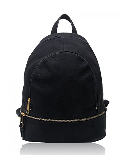 LeahWard® Damen Mädchen Rucksack Rucksack Schule Taschen Damen Qualtiy Mode Kunstleder Handtasche CWS00186 CWS00186A CWJM841 661-Schwarz