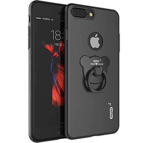 iPhone 7 Plus Schutzhüle Bumper Hülle Hard Cover Back Case Tasche TPU mit Universal Finger Griff Grip Gummi Bügel Handliche Halter Halterung Halterungen Holder Schwarz