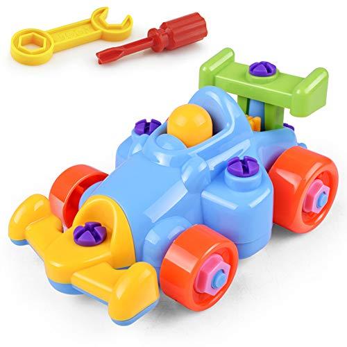 OPSLEA Kinder Puzzle und Demontage Spielzeug nehmen-auseinander und montieren Zug und Werkzeuge Cartoon-Auto, Flugzeug (Montieren Werkzeug)