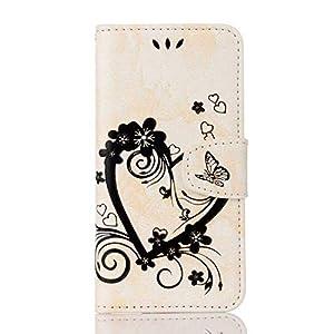 Apple iPhone 6 Plus/iPhone 6S Plus Hülle,THRION PU Herz Blume Brieftaschenetui mit magnetischer Handschlaufe und Ständerhalterung für Apple iPhone 6 Plus/iPhone 6S Plus, Blau