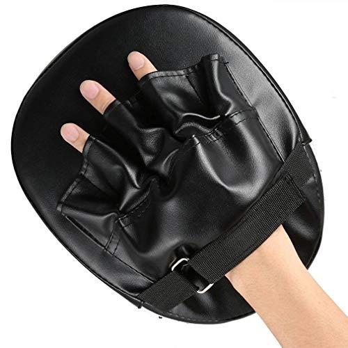 JXBDP 2PCS Almohadillas de Boxeo PU Cuero de Boxeo Mitt Entrenamiento Objetivo Enfoque Punch Pad Guante Punzonando Patada de Palma Gancho y jab Almohadillas (Negro)