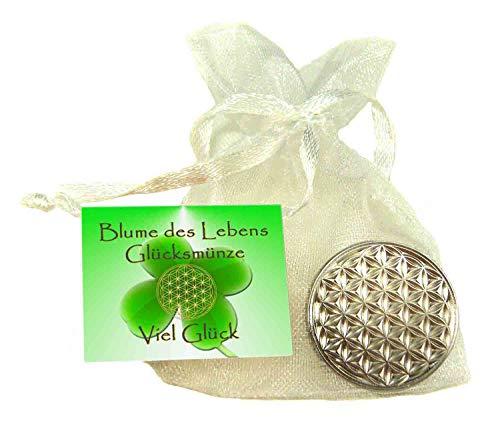 EnerChrom Blume des Lebens Glücksmünze - Viel Glück - 1 Stück - Farbe Silber - Glücksbringer Lebensblume Talisman Münze (Schreiben Sie Ihre Seele)