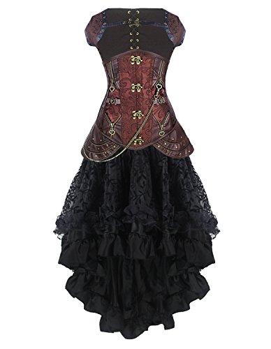 Burvogue Damen Steampunk Gothic Corsage Kleid Lang Rock Corsagenkleid