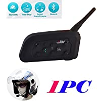 V6 BT Intercom 1200M Interfono Bluetooth 6 Riders Full Duplex para Motocicleta Motocicleta Casco Resistente al