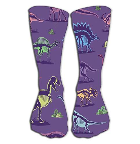 No Soy Como Tu Hohe Socken Outdoor Sports Men Women High Socks Stocking Dinosaur Vintage Color Background Monster Stegosaurus Drawing Textile Repeat Style Lovely Tile Length 19.7