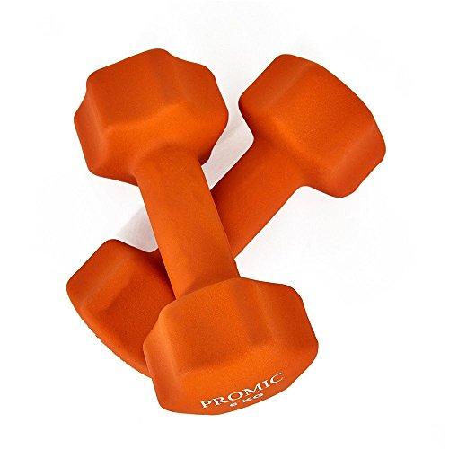 PROMIC  Neopren Hanteln Gewichte für Gymnastik Kurzhanteln- ideal für Aerobic & leichtes Fitnesstraining, 13 verschiedene Gewichte und Farben zur Auswahl (2er-Set), 2 x 6 kg, Orange - 6