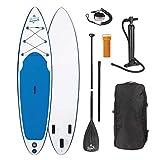 EASYmaxx Stand-Up Paddle-Board, SUP Board, aufblasbar 320cm (Board aufgepumpt: 320x76x15cm) Doppelhub-Pumpe + Grosse Tragetasche + Alu-Paddel (3-teilig), 3 Finnen