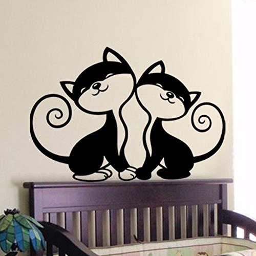 yaoxingfu Zwei Nette Katzen Wandaufkleber Kunstwand Für Kinder Kinderzimmer Schlafzimmer Dekoration Für Wohnzimmer Fensteraufkleber Tiere Pat Gelb 61x43 cm