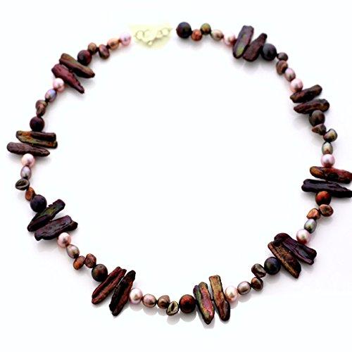 Echte Perlenkette | rosa | Silber 925 | Länge 45 cm | Halskette | Süßwasserperlen Zucht-Perlen | Geschenke für sie handgefertigt