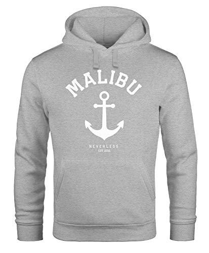 Neverless Hoodie Herren Anker Malibu Anchor Kapuzen-Pullover Männer grau 4XL