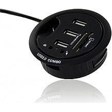 Ekit Mdhek - Base con puertos de audio, lector de tarjetas y 3 puertos USB