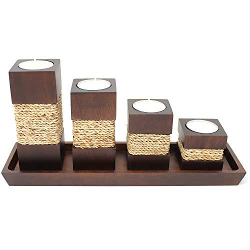 Trendy Wood & Light Step braun Kerzenhalter Teelicht Dekoartikel Holz Tischdekoration Kerze Schale (braun) Mangoholz, Kerzenständer, Schale (braun)