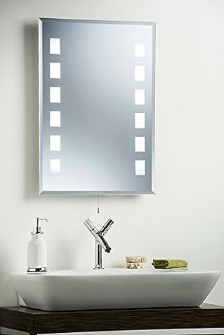 Miroir mural de salle de bain moderne ~ Fluorescent lumineux Rétroéclairé 70x 50cm avec lumières