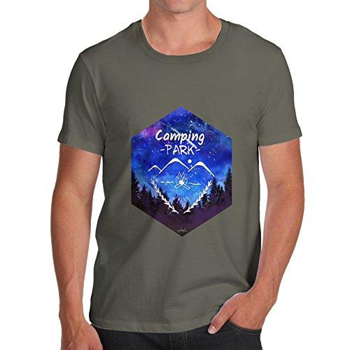 Twisted Envy Camping Sechseck Aquarell Herren komisch, 100% Baumwolle T-Shirt, Rundhalsausschnitt, bequeme und weiche klassische Tee mit einzigartigem Design Khaki