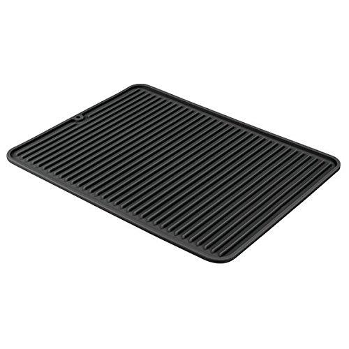 InterDesign Lineo Tapete escurridor, alfombrilla escurreplatos grande de silicona para secar cubiertos y vajilla, negro