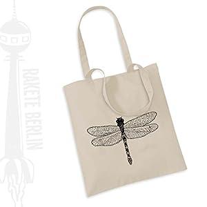 Jutebeutel Stoffbeutel ' Libelle gezeichnet '