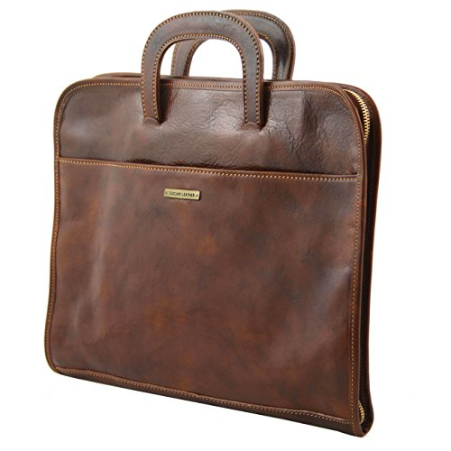 Tuscany Leather Sorrento - Serviette Porte-documents en cuir Marron Porte-document en cuir Noir